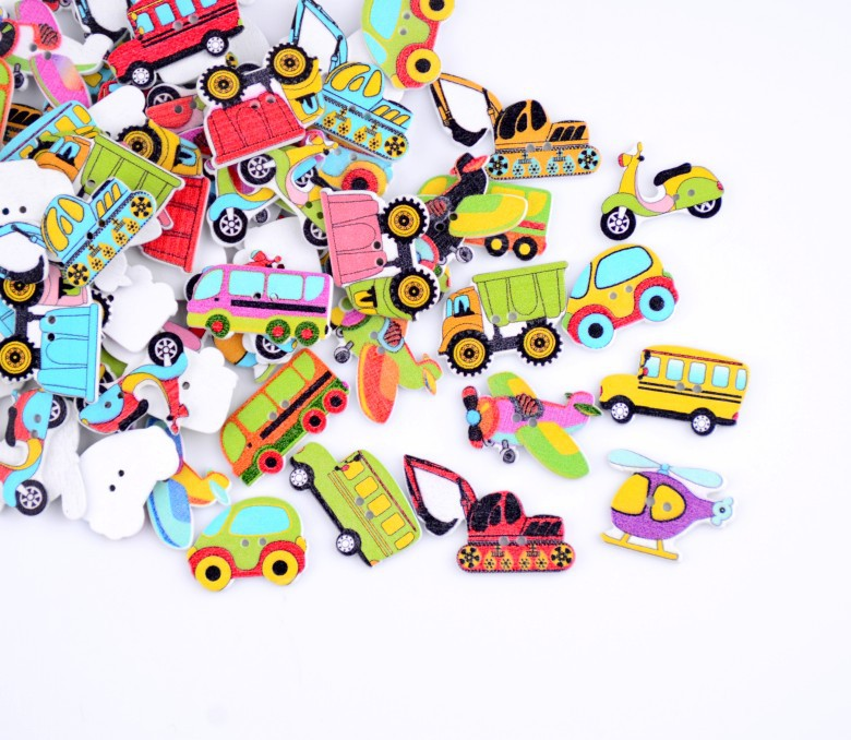 Гаджет  Free shipping -2015 Random 80pcs Mixed 2 Holes Transportation Car Plane Motorcycle Truck Wood Sewing Buttons Scrapbooking D2813 None Дом и Сад