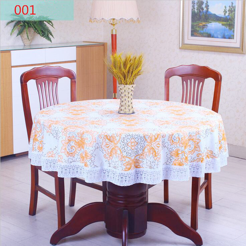 High Quality Table Cloth PVC Round Tablecloth Waterproof Oilproof Non Wash Table Cover Plastic Pastoral Printing Table Cloth(China (Mainland))
