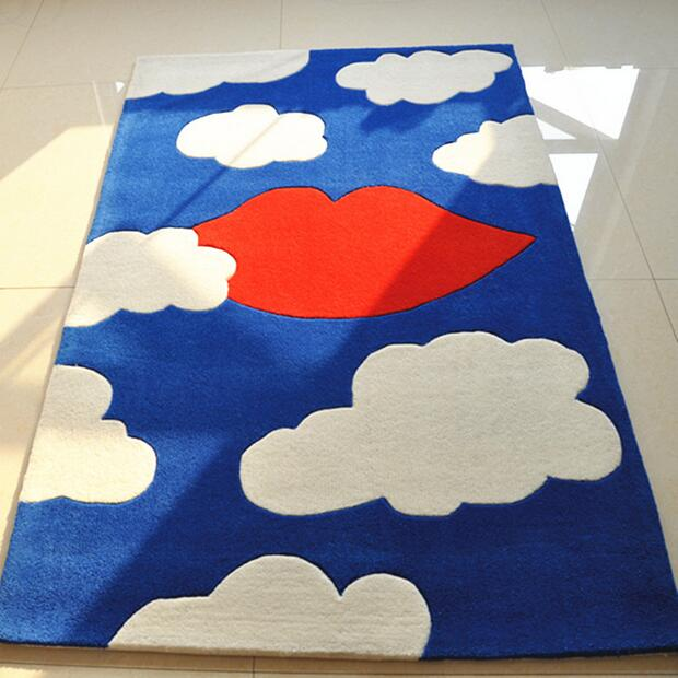 Bedroom Sofa Tea table Children Carpet Study Mat Cartoon White clouds Manual fabrication Rug Tapis Alfombras Tapete Rug(China (Mainland))