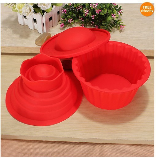 hot!!!3pcs/set big top cupcake as seen on TV silicone bakeware/cake mold/tool 01106