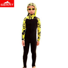 SBART Wetsuit Kids Long Sleeve Hooded Floral Diving Suit Full Body Swimwear Lycra Surf Wetsuits Children Surfing Wet Suits New L(China (Mainland))