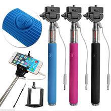 Filaire Selfie bâton de poche manfrotto intégré obturateur extensible + Mount Holder pour iPhone Smartphone de Samsung tous les téléphones appareil photo(China (Mainland))
