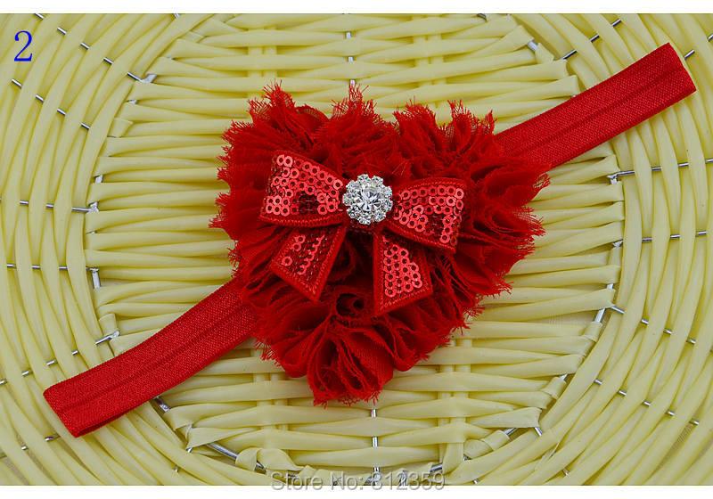 1pc / lot Chiffon Heart Butterfly Rhinestone Headband Newborn Baby and Toddler Girl Valentines Christmas Headband HB1020(China (Mainland))