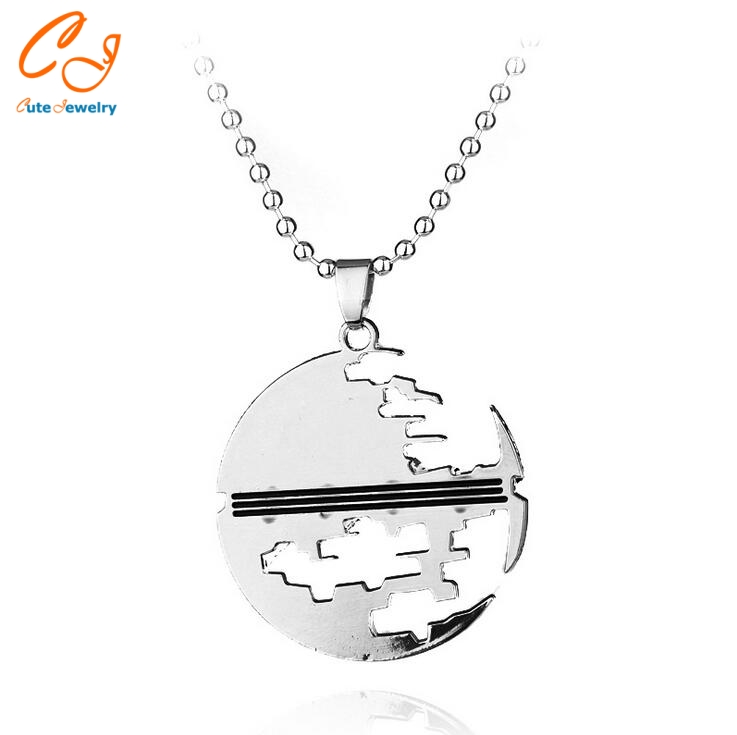 Steel Jewellery Star Trek Star Wars Death Star Pendant Movie Necklace(China (Mainland))