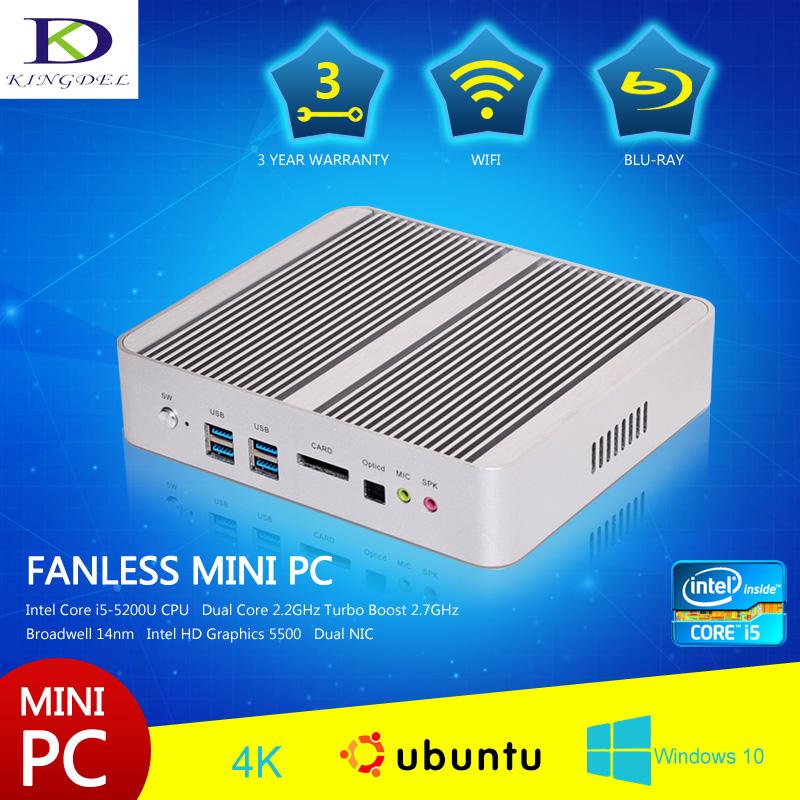 Здесь можно купить  Core i5 5200U Broadwell dual core mini pc,4*USB 3.0 Dual HDMI LAN Optical,WiFi,Fanless business desktop pc  Компьютер & сеть