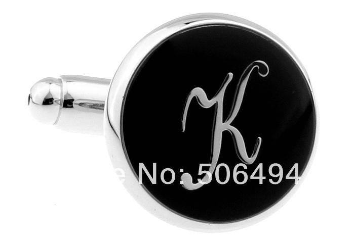 Fantasia abotoaduras nova prata preto letra K rodada abotoaduras camisa L310(China (Mainland))