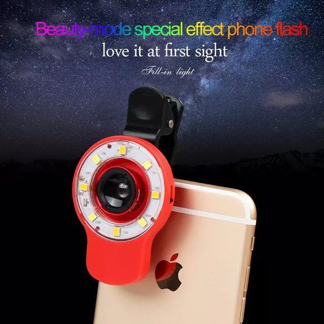 New LED Flash cold warm fill-in light mode mobile phone Lens for iPhone night using beauty selfie phone flash wide angle lens