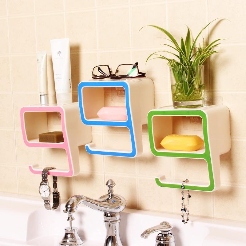 Creative 9 Shape Bathroom Shelves Wall Mounted Type Soap Storage Holders Sundries Storage Racks Good Helper(China (Mainland))