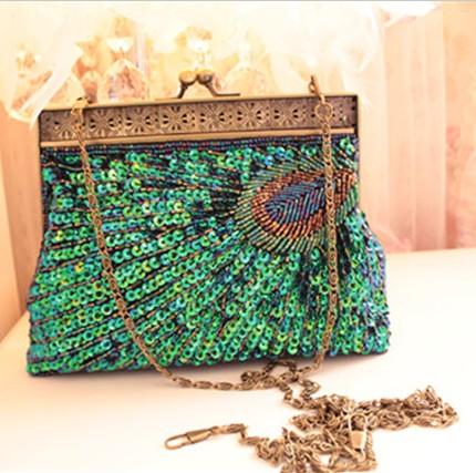 Doudou women's handbag peacock blue small clutch chain bag evening bag beaded 2013(China (Mainland))