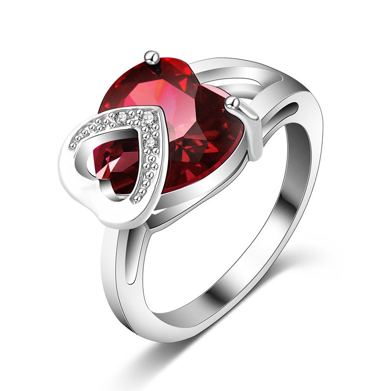 Romantic Christmas Love Gift Female Ring Fashion Accessories Real Platinum Plated Heart Shaped Cut Ruby Ring CRI0046-B(China (Mainland))