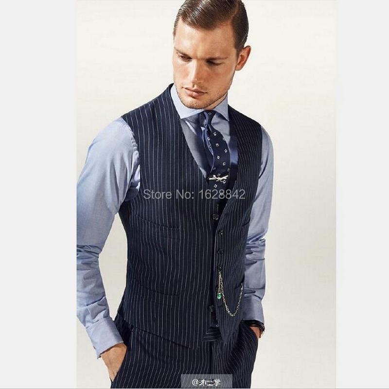 2017 Hot Sale Vests Chalk Stripe Tailor Made Slim Fit Suit Vest Single Breasted Pockets Custom Made Plus Size