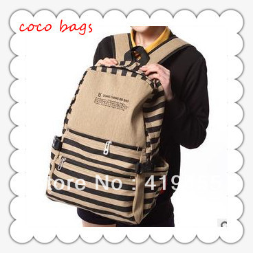 Retail backpacks korean women 2015 fashion high quality school student stripe leisure canvas satchel 4 colors size:31x13x41cm(China (Mainland))