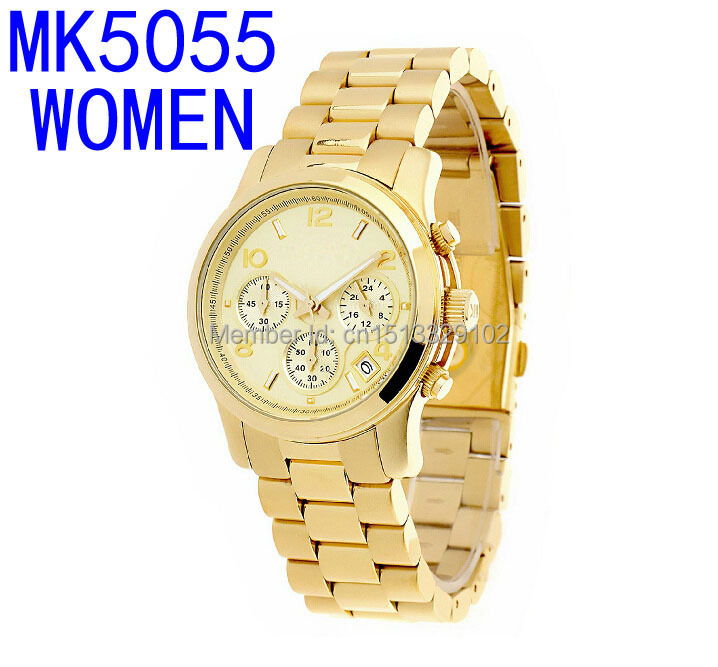 2015 new MK5055 woman chronograph strap watch wholesale and retail free Shippping