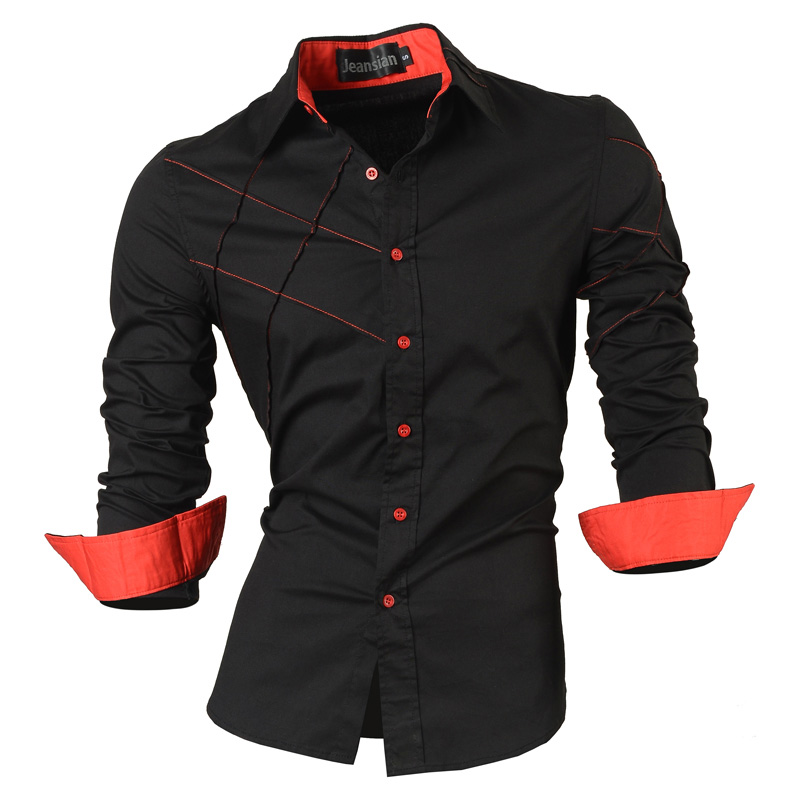 2016 casual shirts dress male mens clothing long sleeve social slim fit brand boutique cotton western button white black t 2028(China (Mainland))