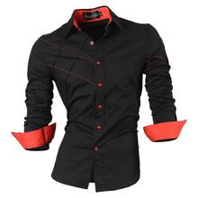 2016 свободного покроя рубашки мужской мужская одежда с длинным рукавом социальной уменьшают подходящую бутик хлопка западный кнопка белый черный т 2028