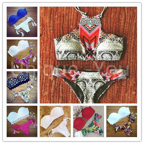 2015 Summer Style Triangl bikinis for women Swimwear neoprene Push UP Printing swimsuits Brazilian Maillot De