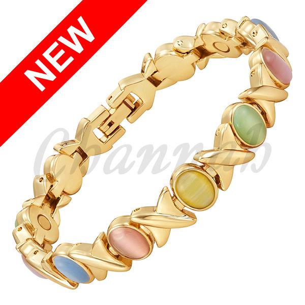 2016 Women 5-Colors Cat Eye Stones 18K Gold Magnetic Bracelet Ladies Jewellery Colourful Bangle Free Shipping via Hong Kong Post(China (Mainland))