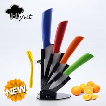 Myvit марка 2015 Новое Прибытие 3 «4» 5 «6» + нож + Держатель Ножа Керамический Нож Набор 8 Цветов Ручка Белый Клинок Кухонные Ножи