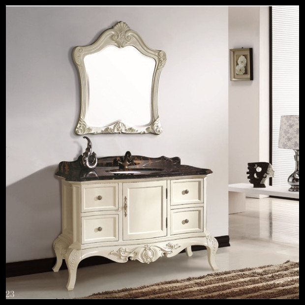 European French Style Solid Wood Bathroom Furniture Wooden Bathroom Vanity Wooden Hotel