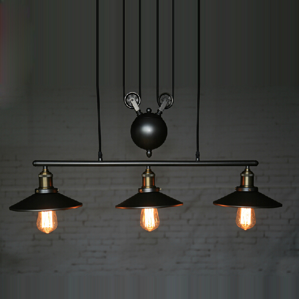 RH Loft Vintage Iron Industrial LED American Country Pulley Pendant Lights Adjustable Wire Lamp Retractable Lighting 110V-240V(China (Mainland))