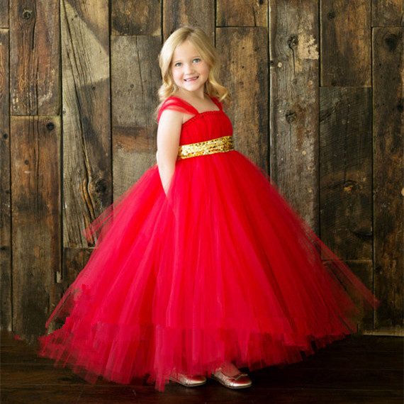 Summer Gilr Tutu Dress Handmade Red Girl Baby Holiday Outfit with Sparkle Gold Ribbon Girl Tutu Dress For Wedding Birthday(China (Mainland))