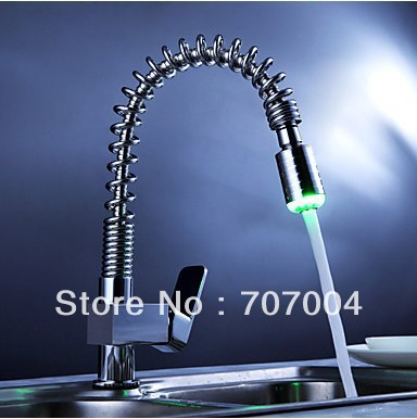 hot selling single handle kitchen pull out faucet hot and cold kitchen mixer tap water tap w/ 3color water powered LED light<br><br>Aliexpress
