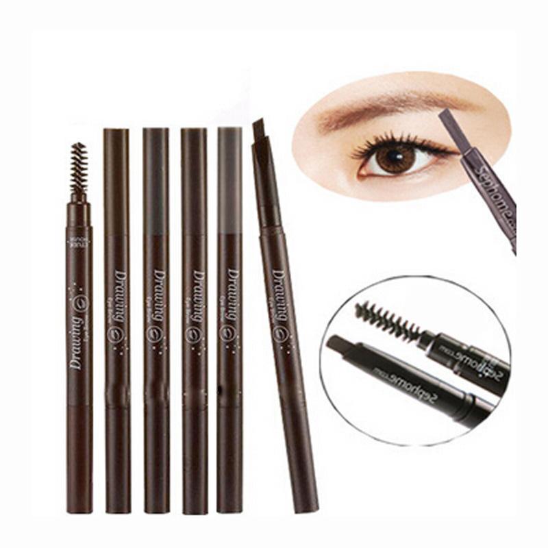 5 Colors 1Pcs Makeup Waterproof Eyebrow Pencil Drawing Eye Brow Pen Enhancer Brush Long Lasting Eyebrow Paint Cosmetics Tools(China (Mainland))