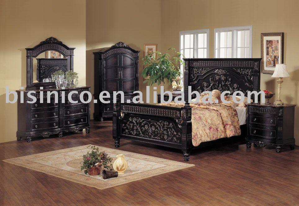 Classica in legno intaglio a mano mobili camera da letto for 6 piani di camera da letto 6 bagni