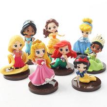 8 pçs/lote Q Posket princesas Tiana figura Brinquedos Dolls Jasmine Rapunzel Ariel Cinderela Branca de Neve Belle Aurore PVC toy Figuras(China)