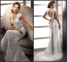 Free ShippingCap Sleeve Sheath Popular Tulle and Lace Sweetheart Sexy Backless Wedding Dresses 2013(China (Mainland))