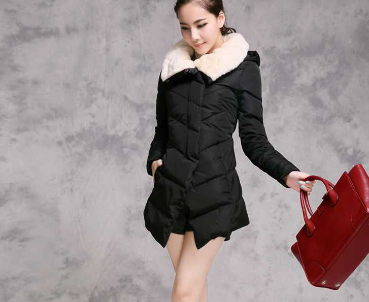 2014 Winter Slim down cotton-padded jacket women fur collar long design snow coat(China (Mainland))