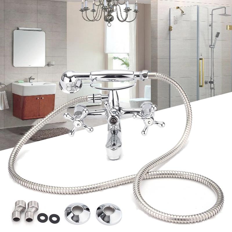 Bathroom Bathtub Wall Mounted Rainfall Shower Showerhead Vintage Telephone Style Water Faucet Mixer Tap Bathroom Shower Sets(China (Mainland))