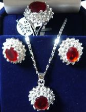 shipping Charming!14KGP Red Rhinestone necklace Earring ring Sets (A0425)(China (Mainland))