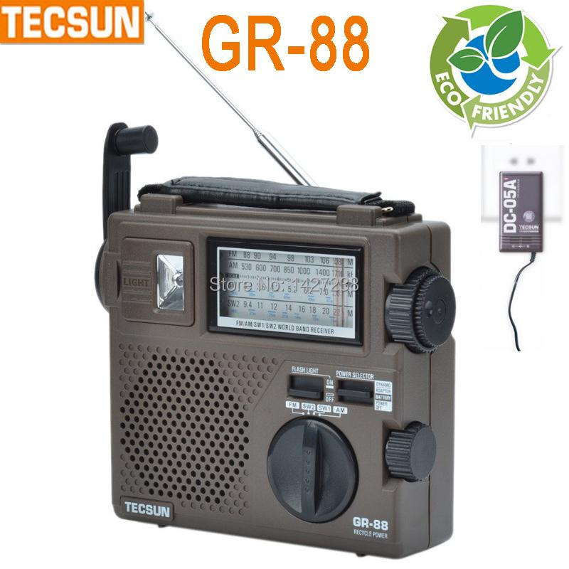 Tecsun GR-88 GREEN-88 radio full-band radio older portable charging dynamo dab digital radio vintage brown fm receiver(China (Mainland))