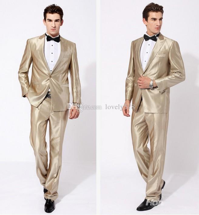 Здесь можно купить  New Arrival Groom Tuxedos Peak Lapel Best man Suit Shiny Beige Groomsman/Bridegroom Wedding/Prom Suits (Jacket+Pants+Tie+Girdle)  Одежда и аксессуары
