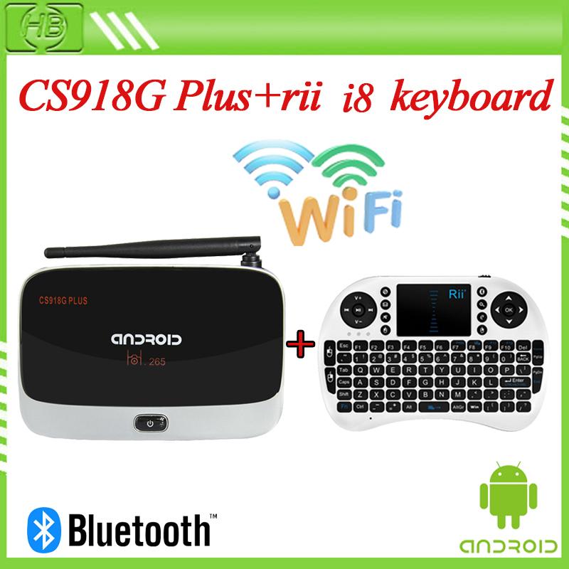 XBMC Kodi Fully loaded CS918g plus Amlogic S805 Quad Core Android 4.4 Smart TV Box 1080P 1GB RAM TV + Rii i8 Wireless keyboard(China (Mainland))