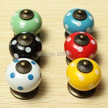 5pcs/Lot Vintage Dot Round Ceramics Drawer Knob Cabinet Pull Handle Cupboard Bedroom Door(China (Mainland))