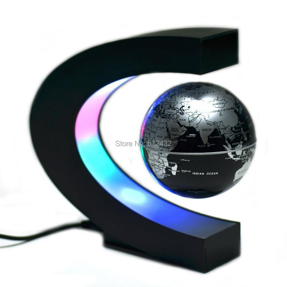 C Shape Magnetic Levitation Floating 3'' Globe World Map with LED Light for Desk Decoration(China (Mainland))