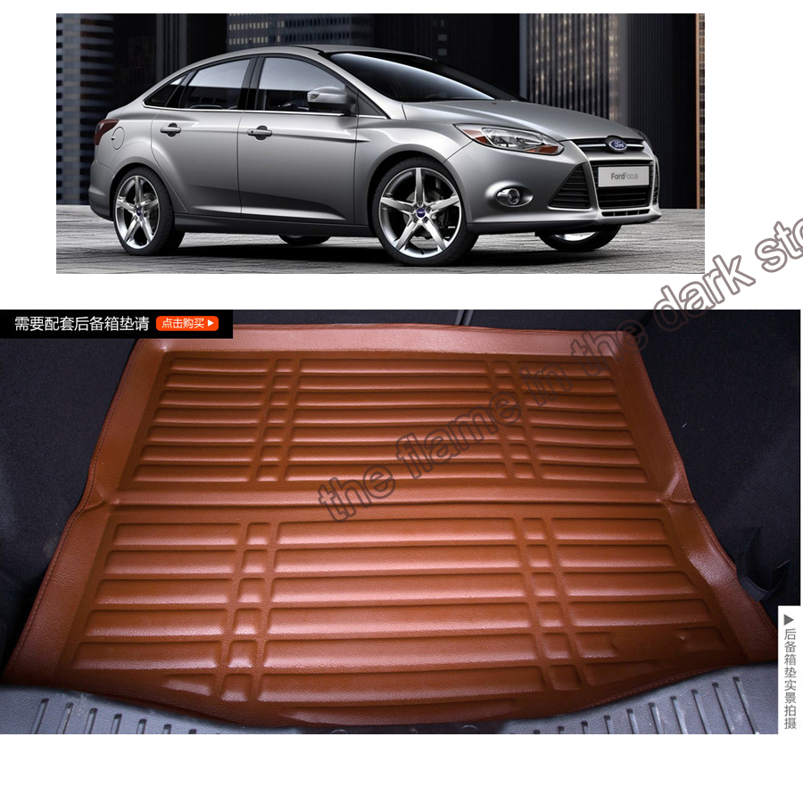 free shipping fiber leather car trunk mat for ford focus 3th generation 2010-2017 black brown coffee beige 4 colors(China (Mainland))
