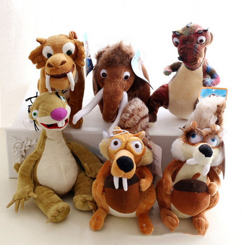 1pc 20cm Ice Age Plush Toy Stuffed Animals Soft Toys Cute Cartoon Doll Manny Diego Sid Squirrel Scratte dinosaurs Momma Kids Toy(China (Mainland))