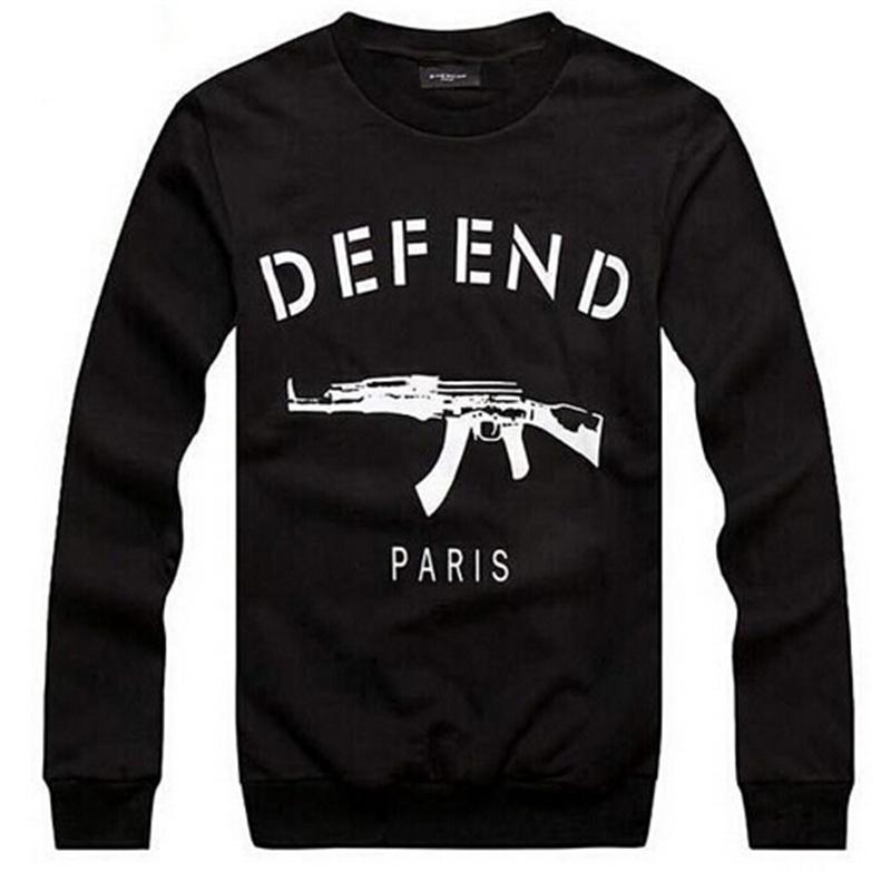 UNIX GIV DEFEND PARIS AK47 Automatic rifles print pullover Long-Sleeve Hip-hop Sweatshirts Hoodies LL0164(China (Mainland))