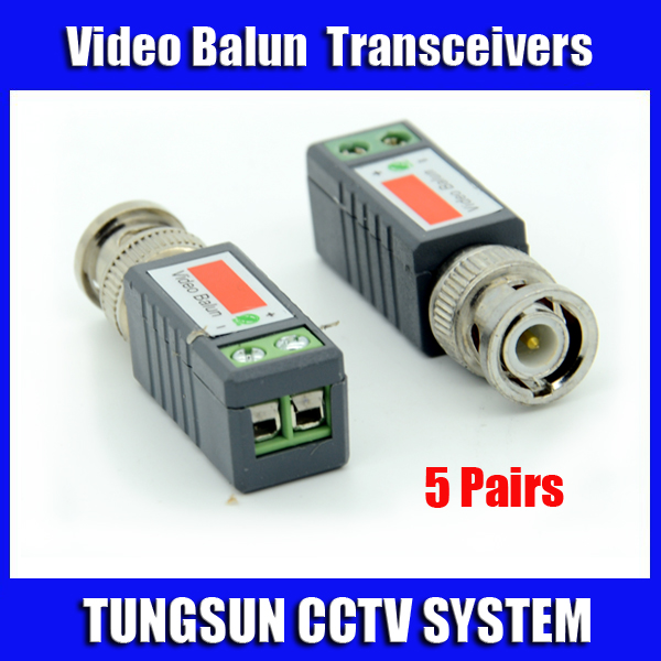 5Pairs CCTV Twisted BNC Passive Video Balun Transceiver Coax CAT5 Camera UTP Cable Coaxial Adapter Camera DVR Free Shipping(China (Mainland))