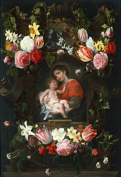 Canvas Art Prints Fabric Wall Decor Giclee Oil Painting Daniel Seghers - Garland Of Flowers With Madonna And Child(China (Mainland))