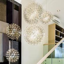 Nordic Design hanglamp Raimond Led Firework Ball Pendant Light For Living Room Stainless Steel Abajur Restaurant lampe 110-220V(China (Mainland))