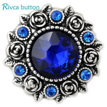 D02807 Wholesale 6 Color High Quality Charm Rhinestone Styles Metal Ginger Snap Button Fit Snaps Bracelets Woman Rivca Jewelry