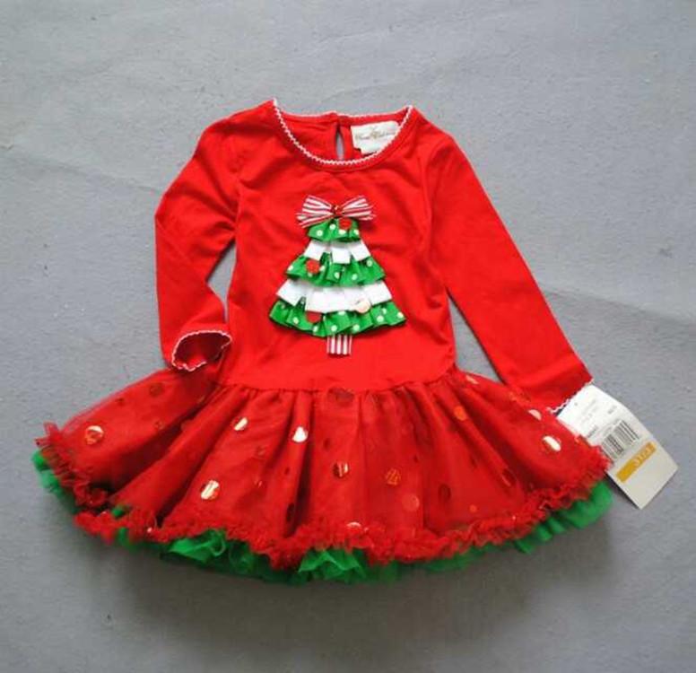 Christmas tree dress for girl red costume children princess sweet tutu