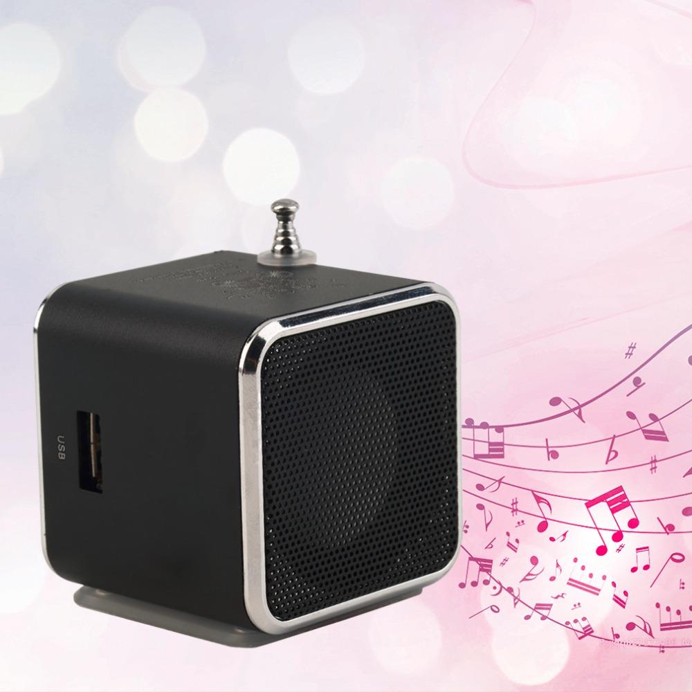 New Hot Selling 1pcs black Aluminum alloy Portable Micro TF USB Mini Stereo Speaker Music Player FM Radio PC MP3 /4 Hot(China (Mainland))