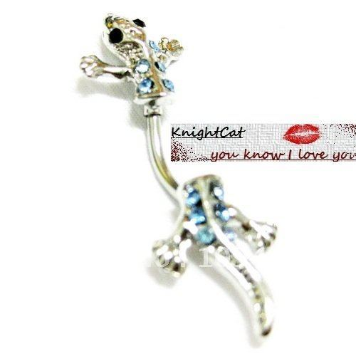 Belly Button Navel Ring Piercing Body Jewelry Hot Sexy Pendant Charm Fashion Lizard CZ Stone 316Steel Free Shipping Xmas 10pcs