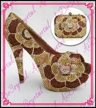 Aidocrystal Handmade ladies high heel shoes popular gold wedding dress shoes with matching bag(China (Mainland))