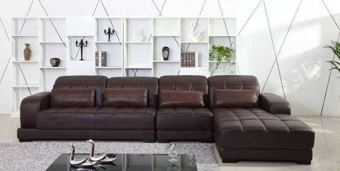 Classic Coffee Color Top Grain Leather Sofa, L shaped Sectional Sofa set 3.7M length House Furniture On Sale E308(China (Mainland))